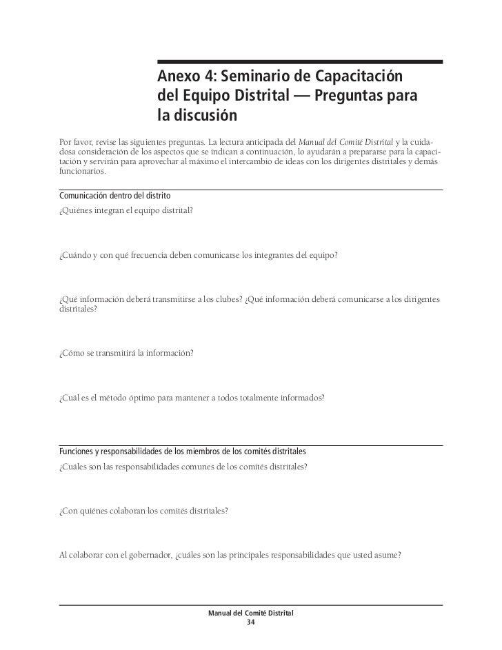 Anexo 4: Seminario de Capacitación                             del Equipo Distrital — Preguntas para                      ...