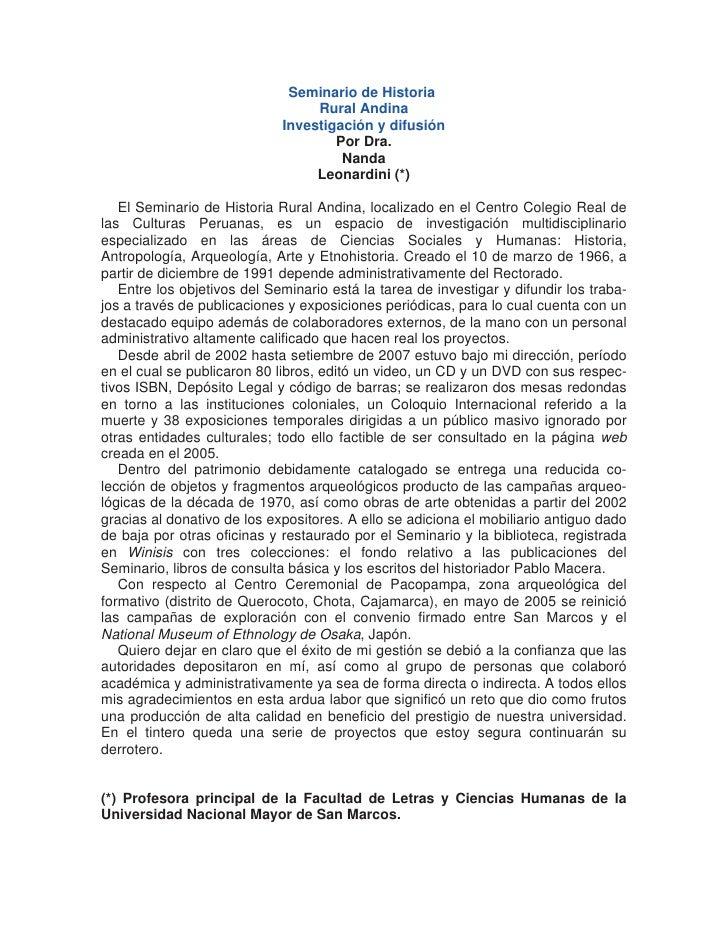 Seminario de Historia                                   Rural Andina                              Investigación y difusión...
