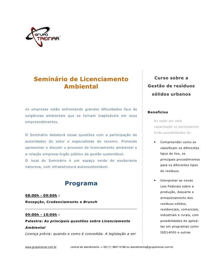 Seminário de Licenciamento                                                         Curso sobre a              Ambiental   ...