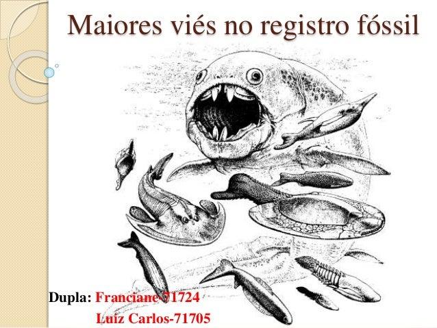 Maiores viés no registro fóssil Dupla: Franciane-71724 Luiz Carlos-71705