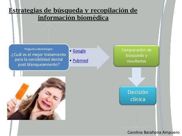 Estrategias de búsqueda y recopilación de          información biomédica      Pregunta odontológica:              Comparac...