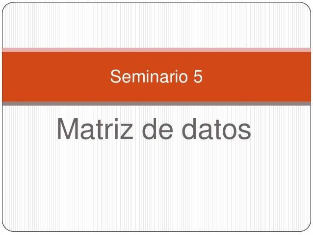 Matriz de datosSeminario 5
