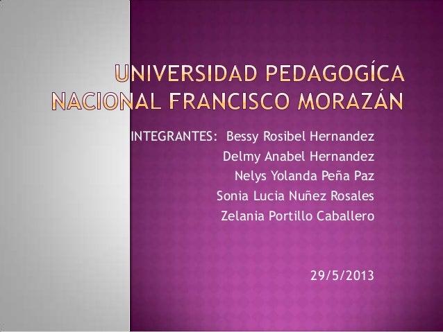 INTEGRANTES: Bessy Rosibel HernandezDelmy Anabel HernandezNelys Yolanda Peña PazSonia Lucia Nuñez RosalesZelania Portillo ...
