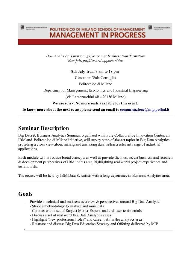 Big Data & Business Analytics Seminar - July 2014 - Politecnico Milano