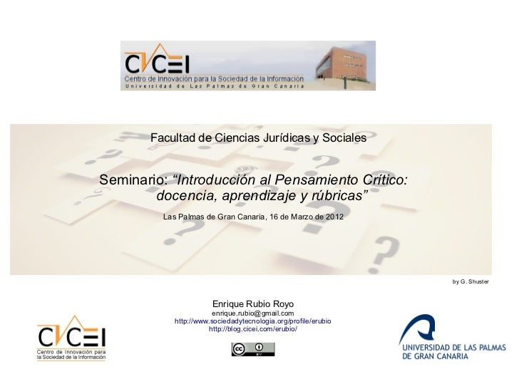 Seminario critical thinking marzo 2012
