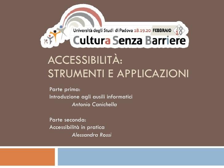 Accessibilità: strumenti e applicazioni