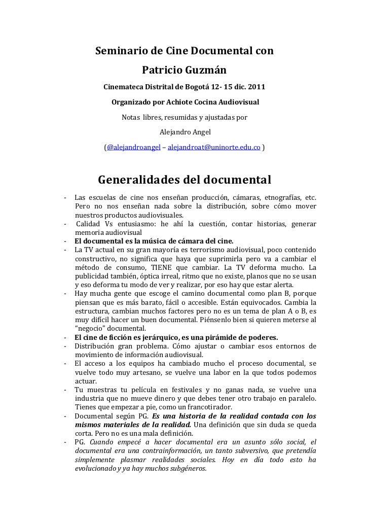 Seminario de Cine Documental con Patricio Guzman - Notas completas