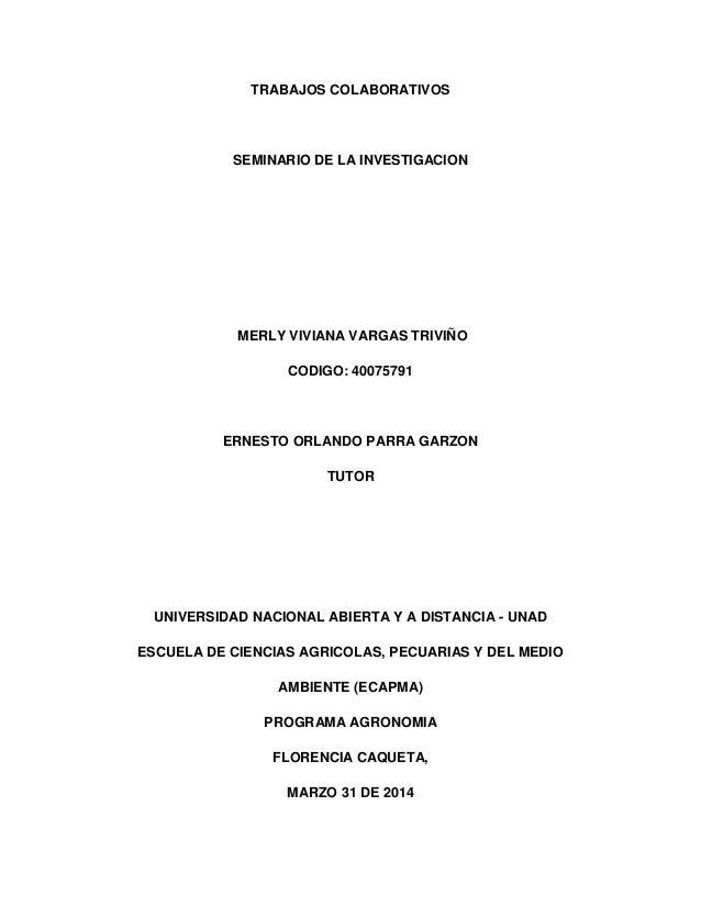 TRABAJOS COLABORATIVOS SEMINARIO DE LA INVESTIGACION MERLY VIVIANA VARGAS TRIVIÑO CODIGO: 40075791 ERNESTO ORLANDO PARRA G...