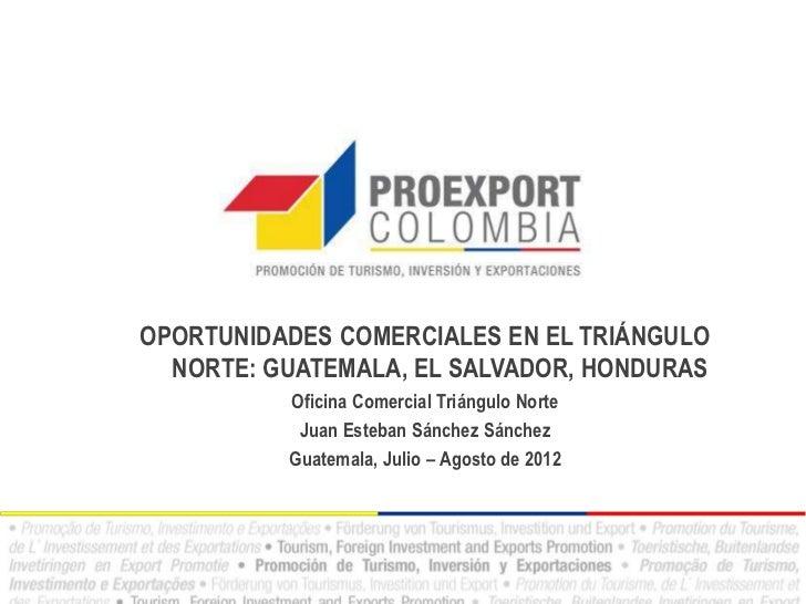 OPORTUNIDADES COMERCIALES EN EL TRIÁNGULO  NORTE: GUATEMALA, EL SALVADOR, HONDURAS          Oficina Comercial Triángulo No...