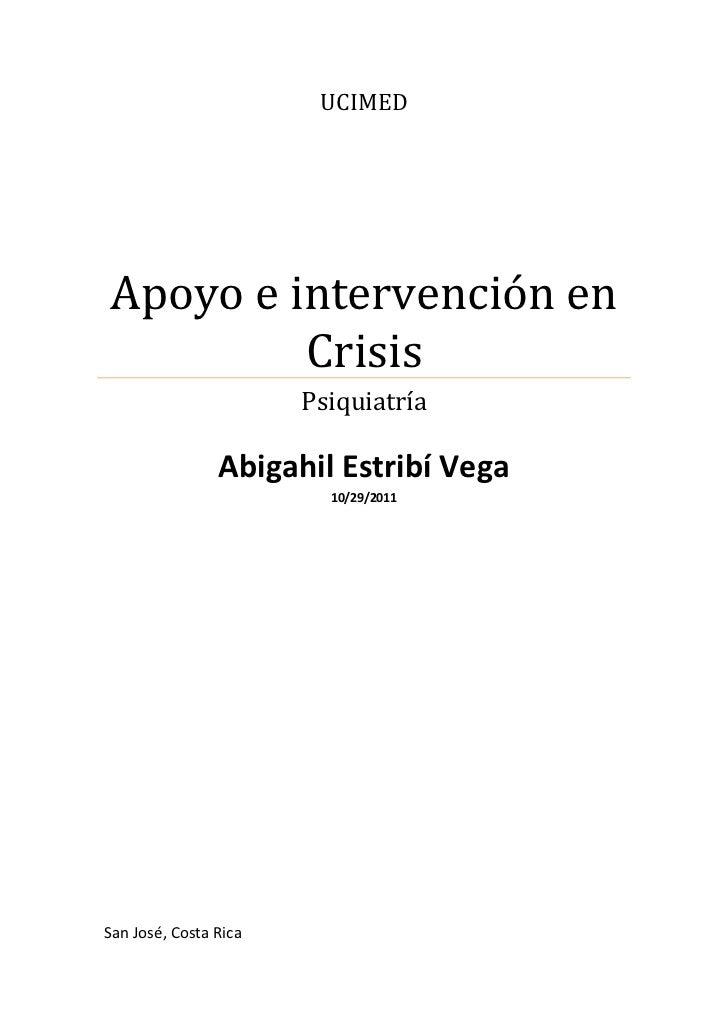 UCIMEDApoyo e intervención en         Crisis                       Psiquiatría                Abigahil Estribí Vega       ...