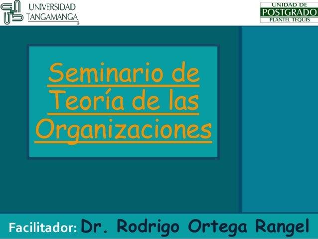 Seminario de Teoría de las Organizaciones Facilitador: Dr. Rodrigo Ortega Rangel