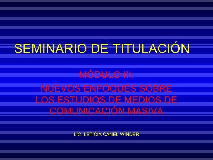 Seminario De TitulacióN Oct 2005