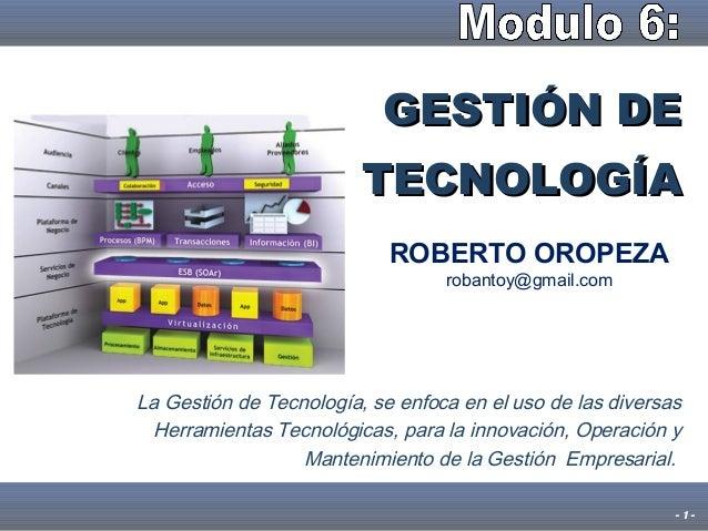 Seminario gestion de tecnologia