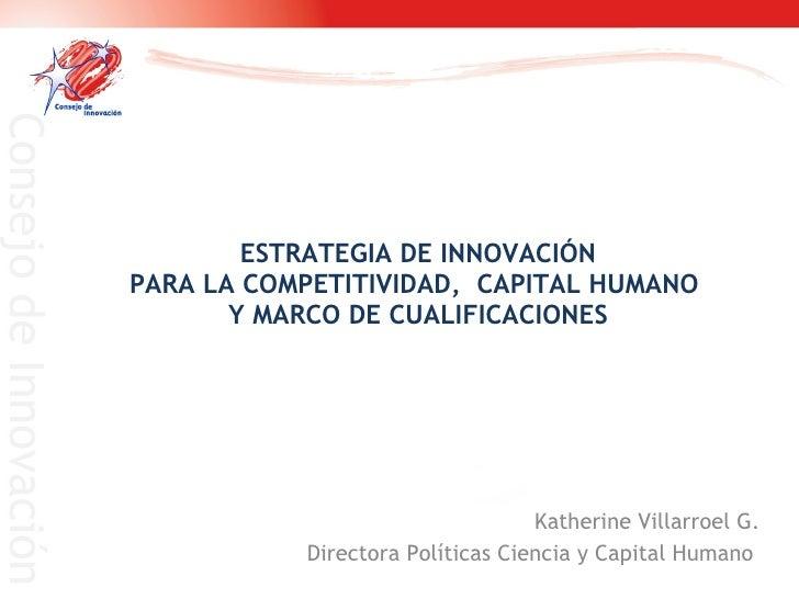 ESTRATEGIA DE INNOVACIÓN PARA LA COMPETITIVIDAD,  CAPITAL HUMANO  Y MARCO DE CUALIFICACIONES Katherine Villarroel G. Direc...