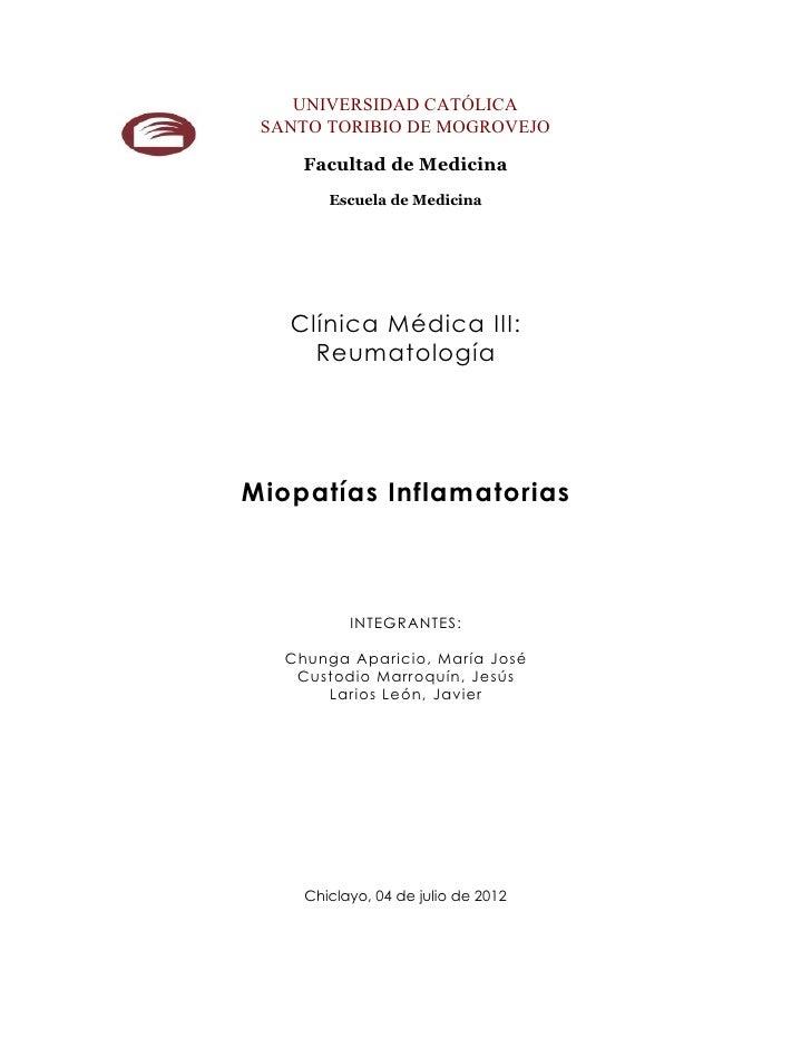 UNIVERSIDAD CATÓLICA SANTO TORIBIO DE MOGROVEJO     Facultad de Medicina        Escuela de Medicina   Clínica Médica III: ...