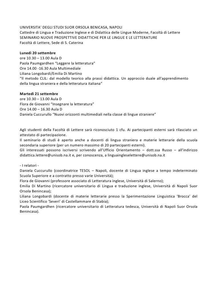 UNIVERSITA' DEGLI STUDI SUOR ORSOLA BENICASA, NAPOLI Cattedre di Lingua e Traduzione Inglese e di Didattica delle Lingue M...
