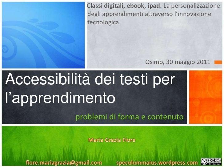 Accessibilità dei testi per l'apprendimento: problemi di forma e di contenuto