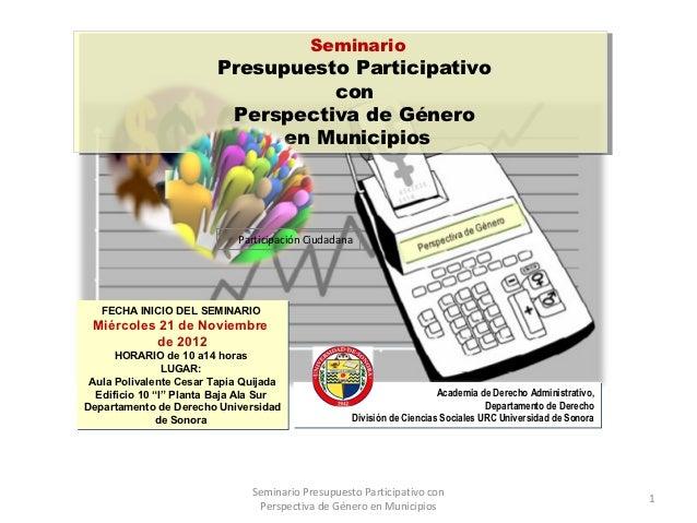 Seminario presupuesto participativo con perspectiva de género en municipios