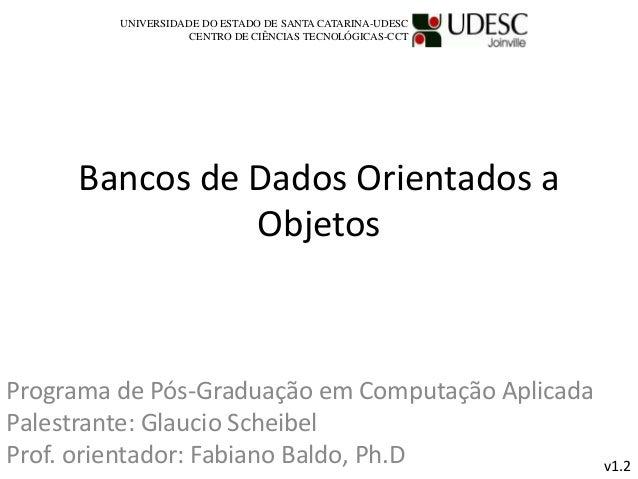 Bancos de Dados Orientados a Objetos Programa de Pós-Graduação em Computação Aplicada Palestrante: Glaucio Scheibel Prof. ...