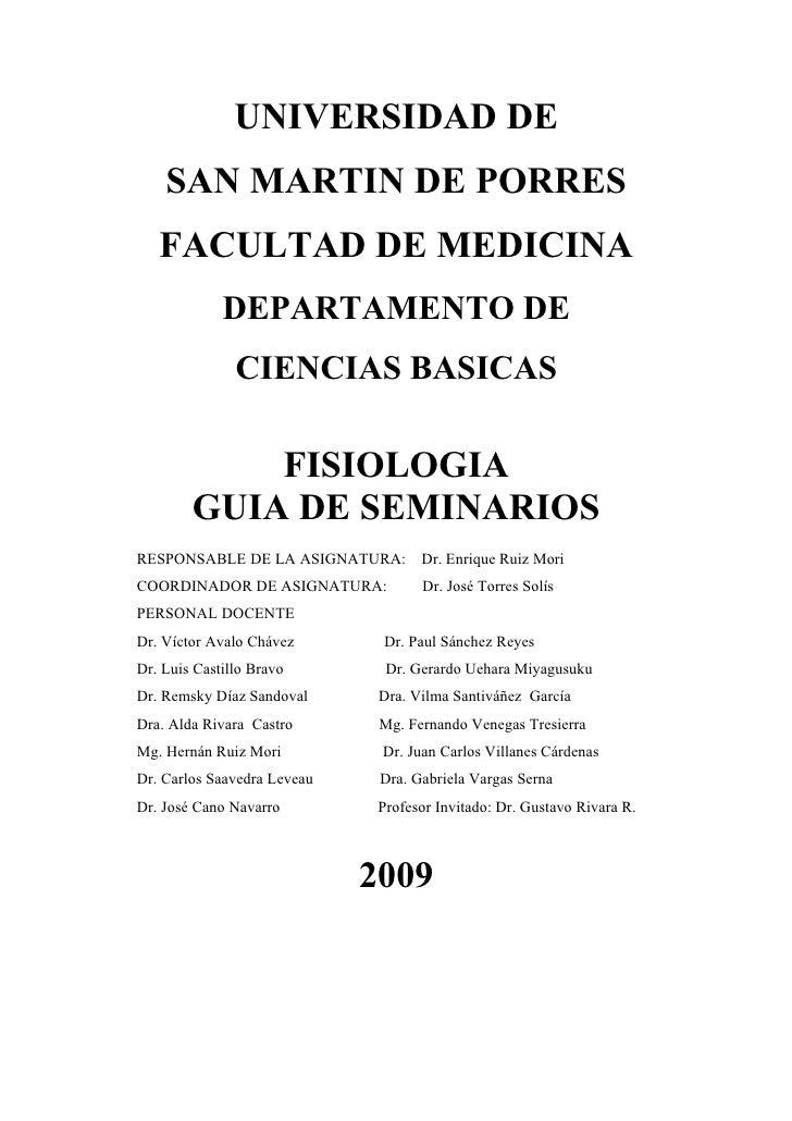 UNIVERSIDAD DE     SAN MARTIN DE PORRES    FACULTAD DE MEDICINA              DEPARTAMENTO DE                CIENCIAS BASIC...