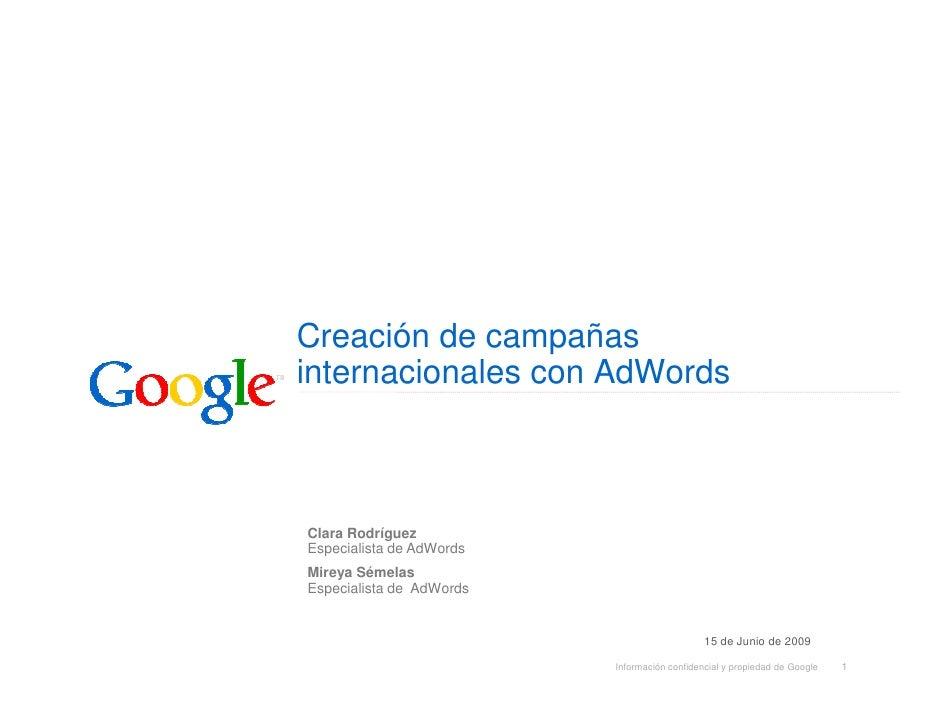Creación De Campañas Internacionales Con  AdWords