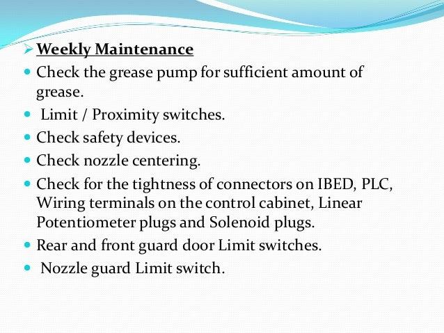 injection molding machine preventive maintenance checklist