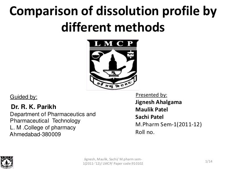 Comparison of dissolution profile by        different methodsGuided by:                                                Pre...