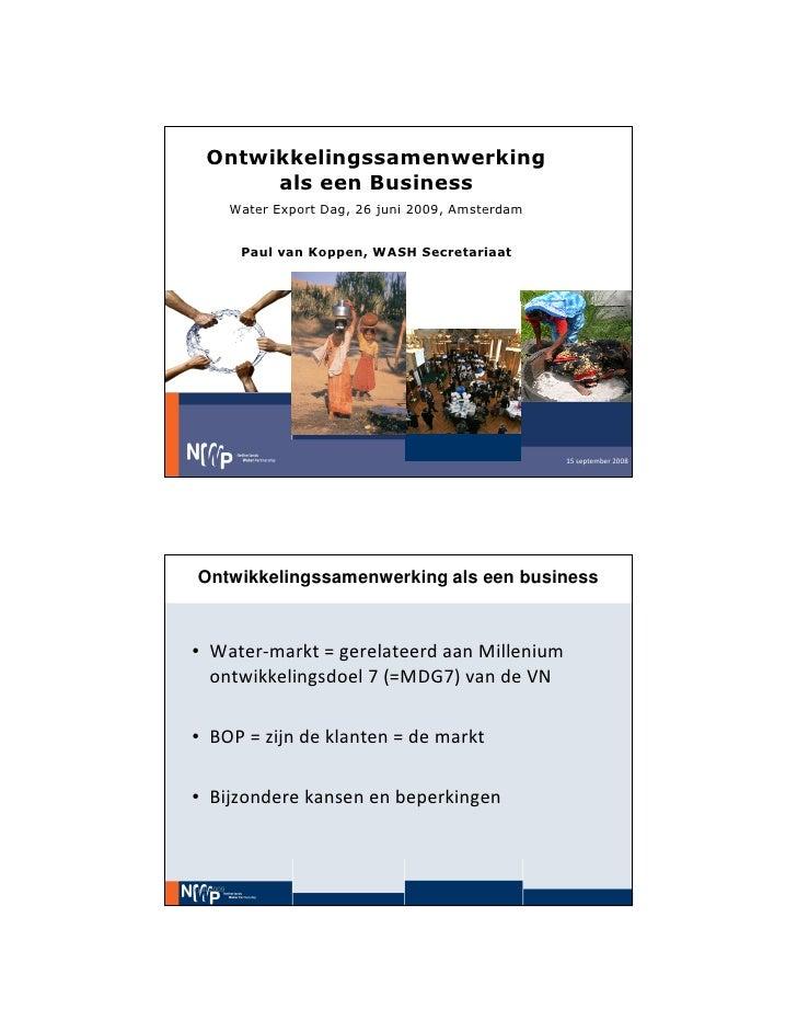 Water Export Dag Seminar Os Als Een Business (Paul Van Koppen)