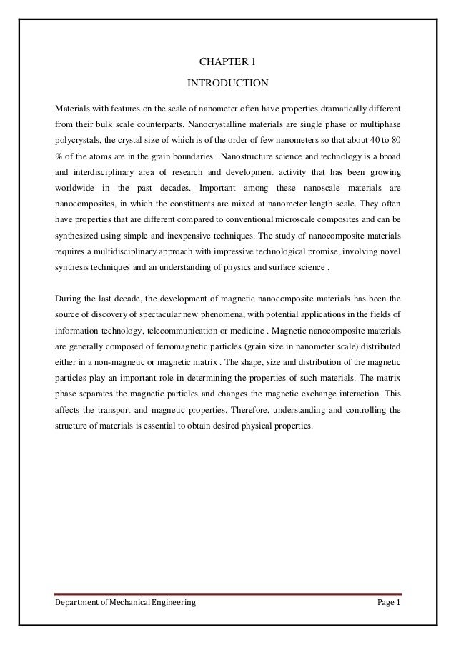 Department of Mechanical Engineering Page 1CHAPTER 1INTRODUCTIONMaterials with features on the scale of nanometer often ha...