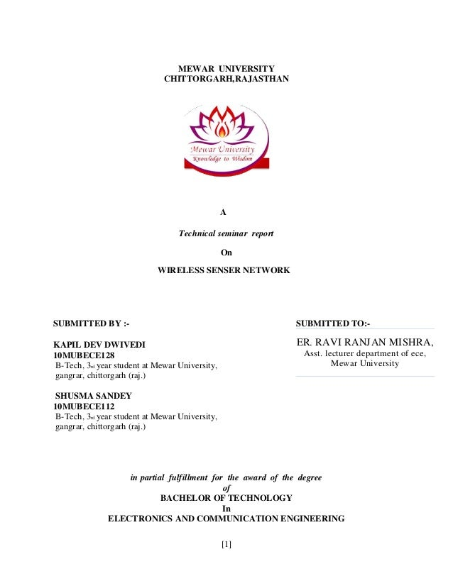 Seminar report on WSN technology
