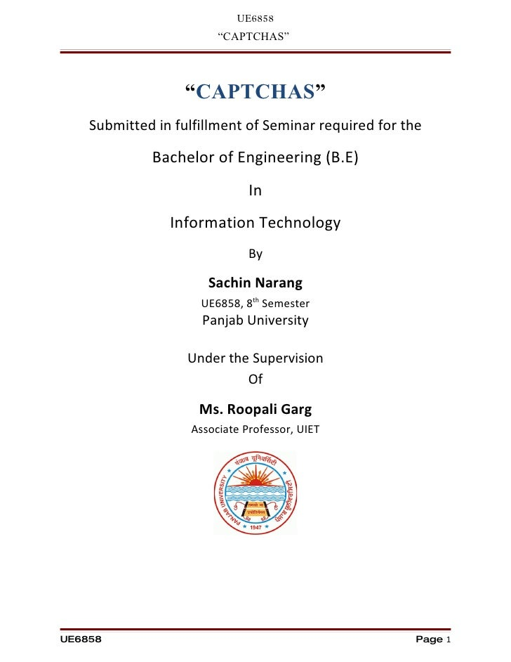 """UE6858                         """"CAPTCHAS""""                      """"CAPTCHAS""""     Submitted in fulfillment of Seminar required..."""