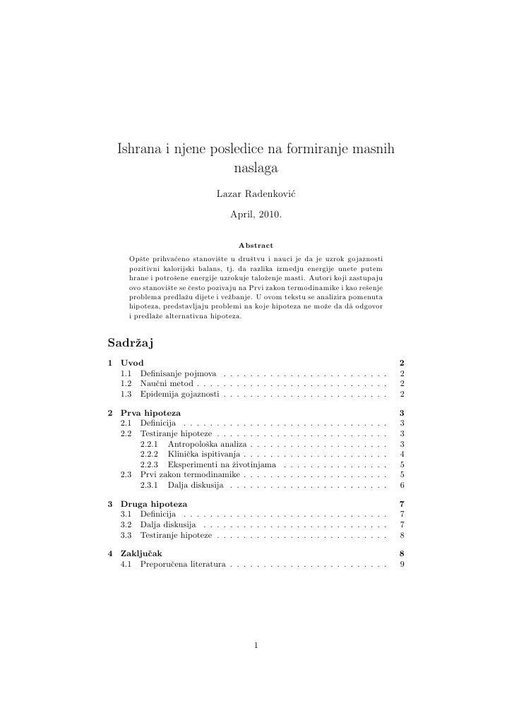 Ishrana i njene posledice na formiranje masnih naslaga - Lazar Radenković