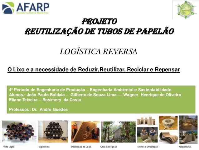 PROJETO REUTILIZAÇÃO DE TUBOS DE PAPELÃO LOGÍSTICA REVERSA O Lixo e a necessidade de Reduzir,Reutilizar, Reciclar e Repens...