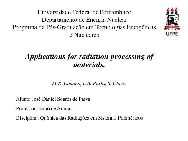 Universidade Federal de Pernambuco Departamento de Energia Nuclear Programa de Pós-Graduação em Tecnologias Energéticas e ...