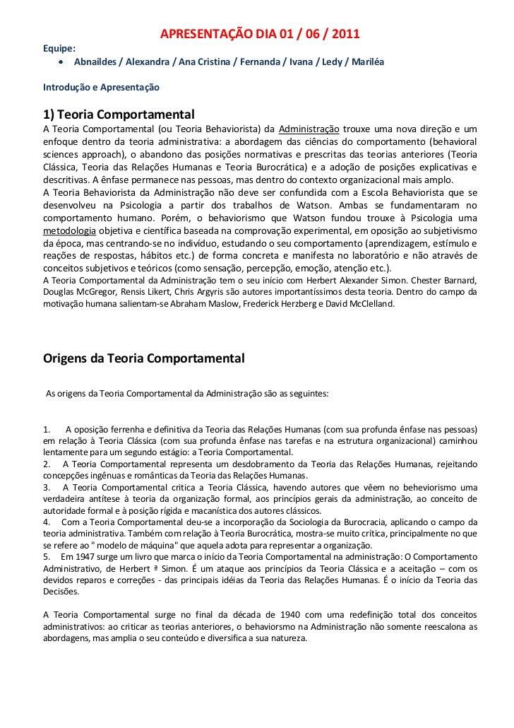APRESENTAÇÃO DIA 01 / 06 / 2011<br />Equipe:<br />Abnaildes / Alexandra / Ana Cristina / Fernanda / Ivana / Ledy / Mariléa...