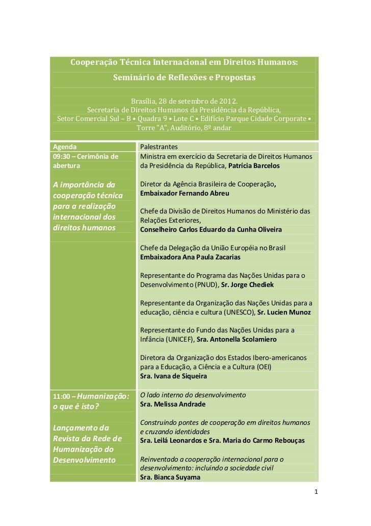 Seminário cooperação técnica internacional em direitos humanos
