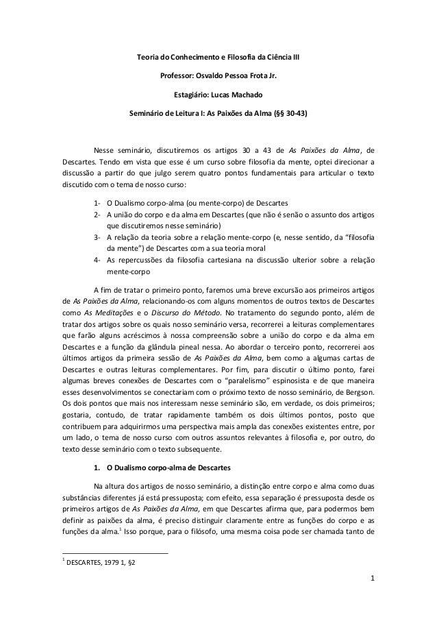 Seminário 1 (Estágio PAE) - As Paixões da Alma (Descartes)