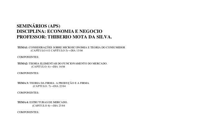 SEMINÁRIOS (APS)DISCIPLINA: ECONOMIA E NEGOCIOPROFESSOR: THIBERIO MOTA DA SILVA.TEMA1: CONSIDERAÇÕES SOBRE MICROECONOMIA E...