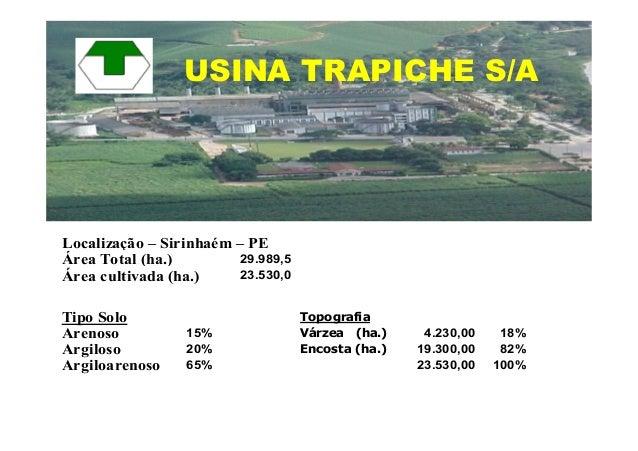 Localização – Sirinhaém – PE29.989,5Área cultivada (ha.) 23.530,0Tipo Solo TopografiaArenoso 15% Várzea (ha.) 4.230,00 18%...