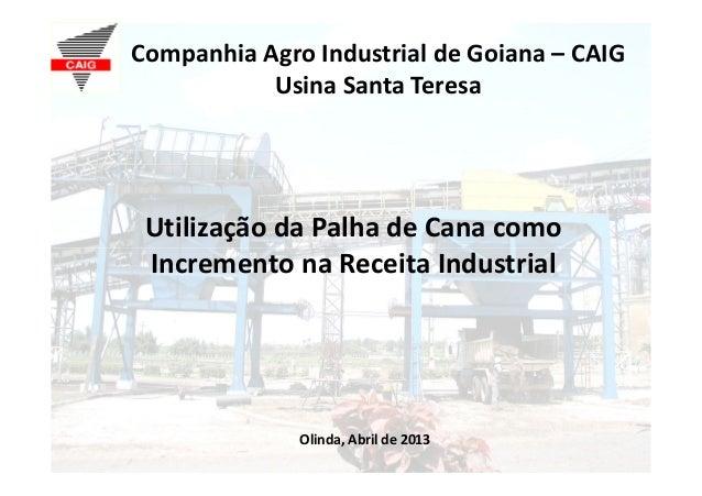 Companhia Agro Industrial de Goiana – CAIGUsina Santa TeresaUtilização da Palha de Cana comoIncremento na Receita Industri...