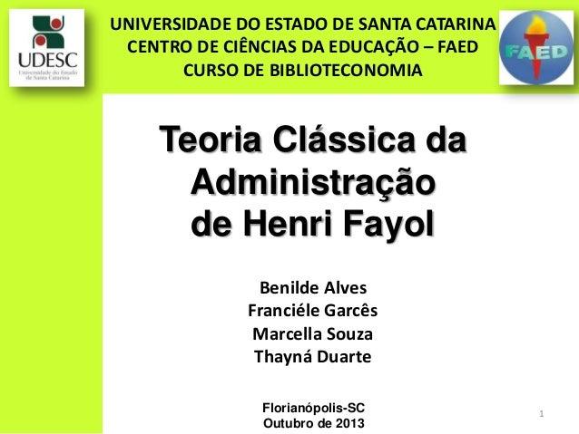 Teorias Administrativas - Henri Fayol