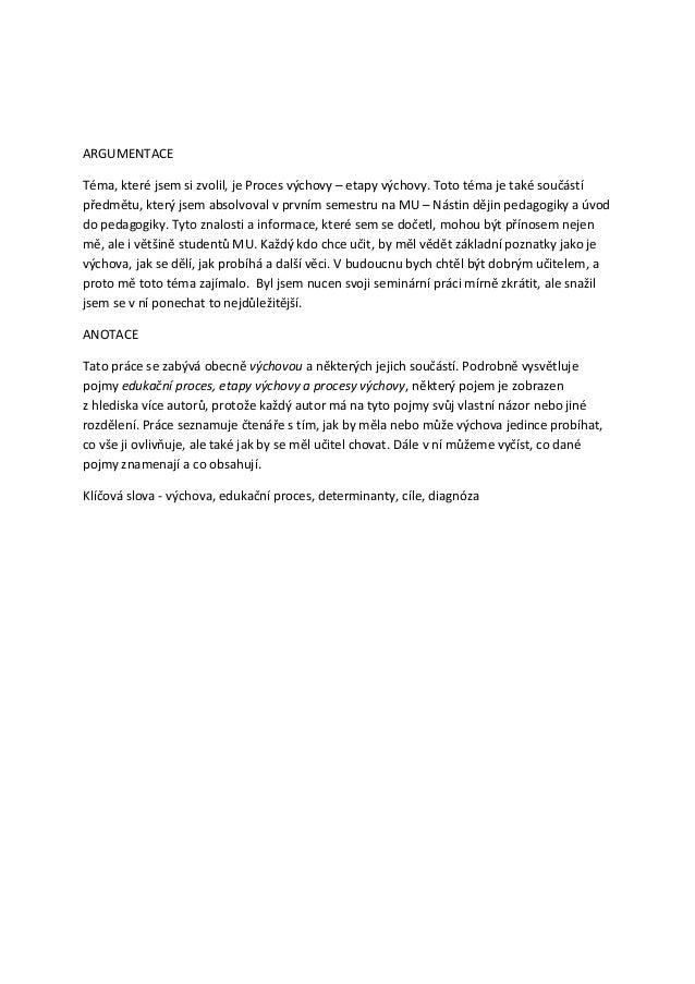 Seminárka   proces výchovy - etapy výchovy - valachovič