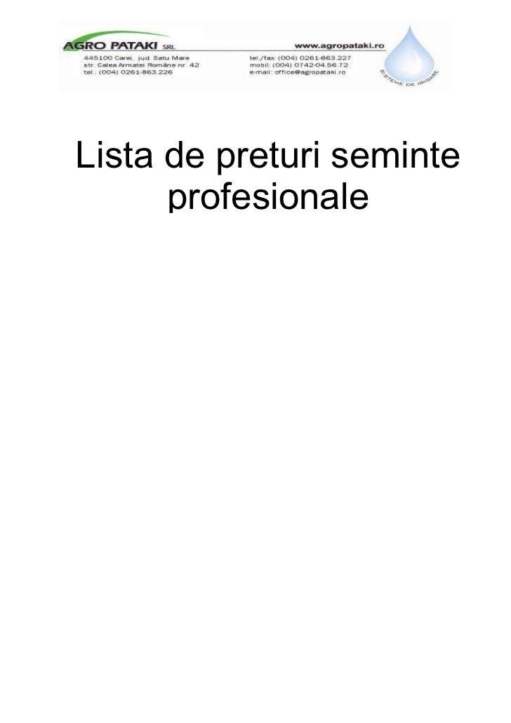 Lista de preturi seminte      profesionale