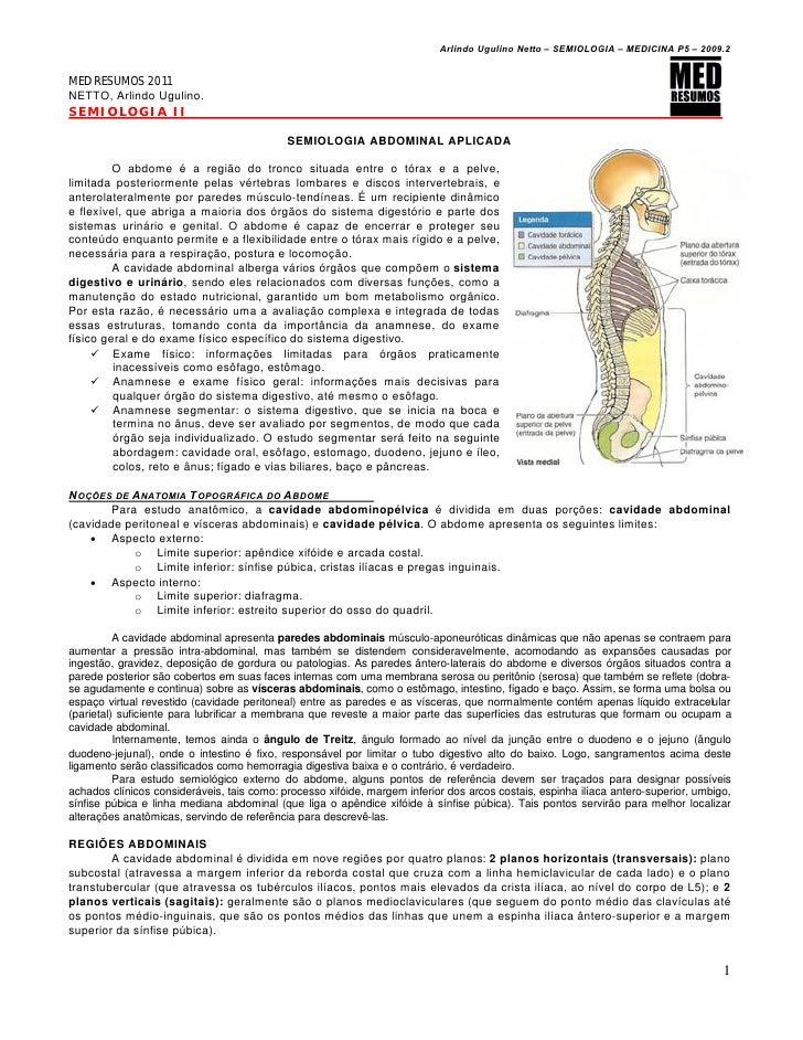 Arlindo Ugulino Netto – SEMIOLOGIA – MEDICINA P5 – 2009.2MED RESUMOS 2011NETTO, Arlindo Ugulino.SEMIOLOGIA II             ...
