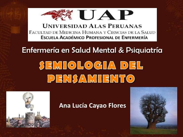 Enfermería en Salud Mental & Psiquiatría          Ana Lucía Cayao Flores