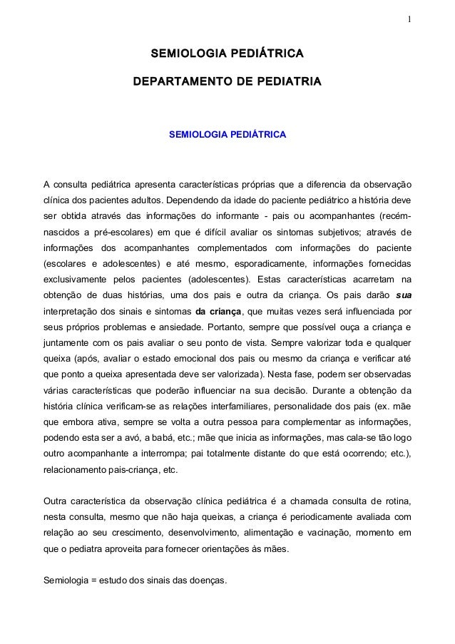 1                          SEMIOLOGIA PEDIÁTRICA                      DEPARTAMENTO DE PEDIATRIA                           ...