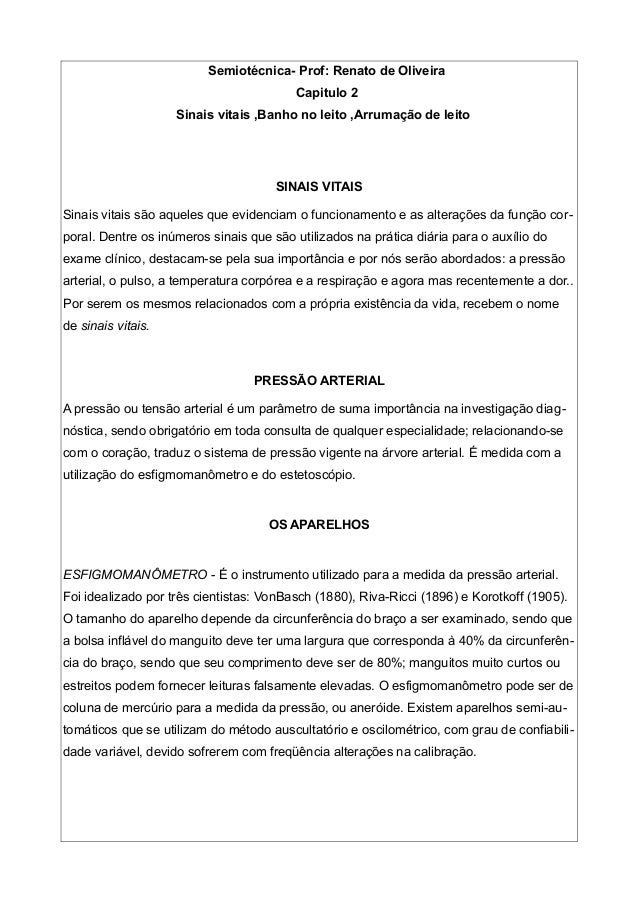 Semiotécnica- Prof: Renato de Oliveira Capitulo 2 Sinais vitais ,Banho no leito ,Arrumação de leito SINAIS VITAIS Sinais v...