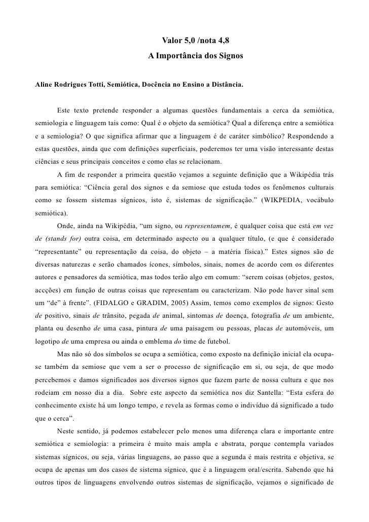 Valor 5,0 /nota 4,8                                       A Importância dos Signos   Aline Rodrigues Totti, Semiótica, Doc...