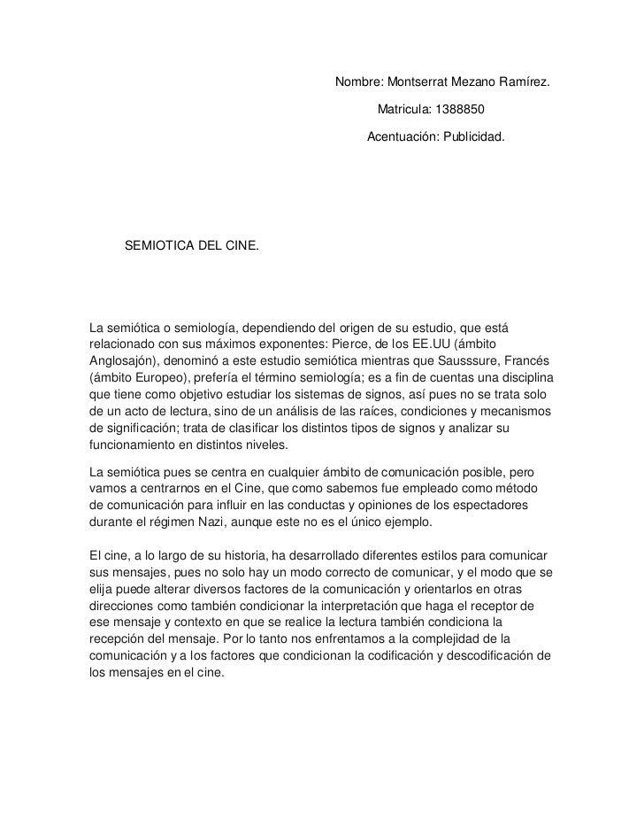 Semiotica cine por Mnotserrat Mezano