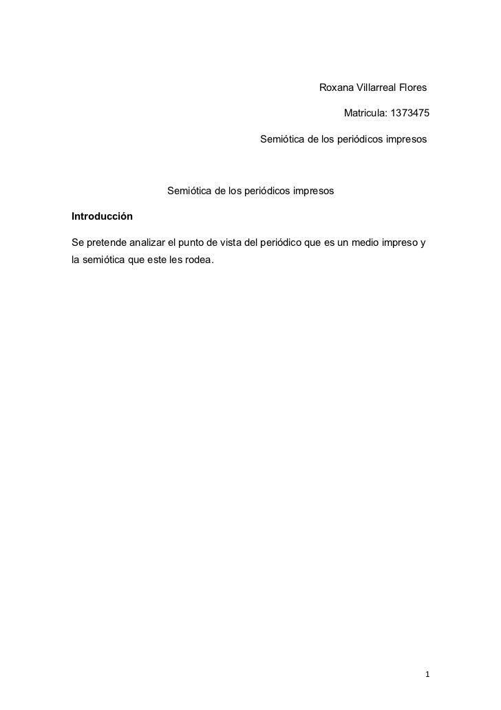 Roxanna villarreal Semiotica de los periodicos impresos